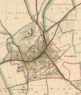 19th century coloured map of Cashel, Co Tipperary, Ireland.