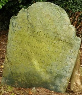 Gravestone in Wicklow's Three Mile Water burial ground. It reads 'In memory of Mary Naile who depd this life 6th of May 1773 aged 66 years. Also James Naile. Lord have mercy on their souls, Amen'.