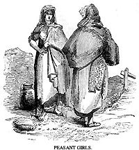 Pen and ink drawing depicting two early 19th century Irish peasant girls chatting while out walking.
