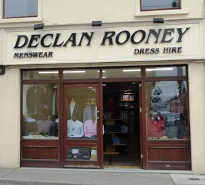 Menswear shop in Athenry, Co Galway, Ireland.