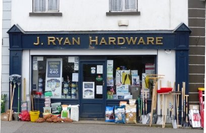 Frontage of J Ryan Hardware store in Tyrellpass, Co Westmeath, Ireland.