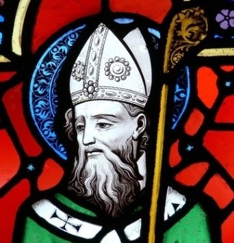 Stained glass depiction of St Patrick