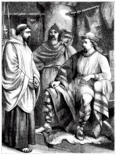 Illustration of St Patrick with King Loaghaire