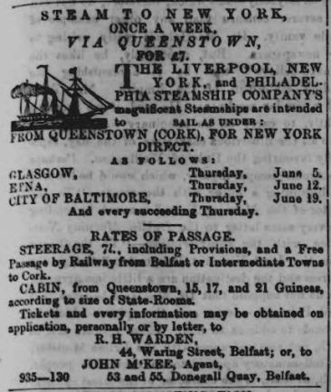 1862 Advert for Atlantic crossing
