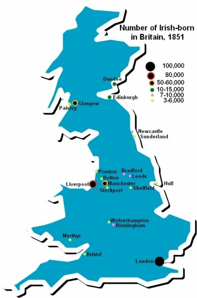 Map Of England And Ireland And Scotland And Wales.Irish Immigration To Britain