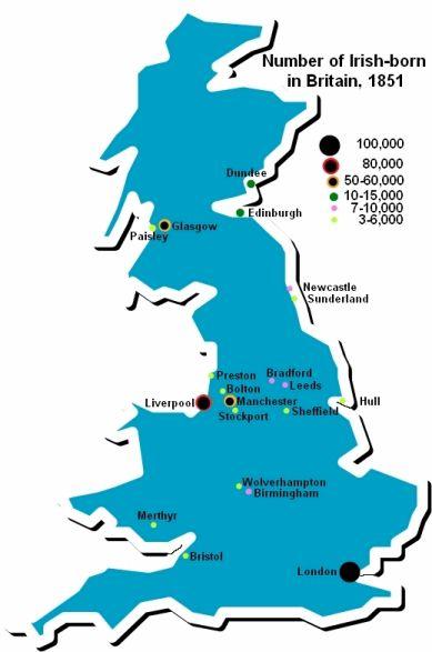 Map Of England 790 Ad.Irish Immigration To Britain