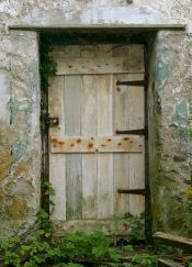 Basic wooden door to property, probably in rural area.