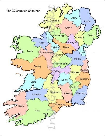 Map of Ireland divided into named counties