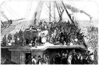 Emigrants departing Ireland 1850
