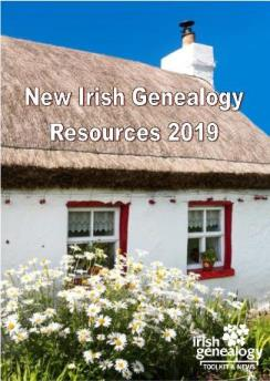 Front cover of New Irish Genealogy Resources 2019, featuring traditional whitewashed thatched cottage and red painted window sills.