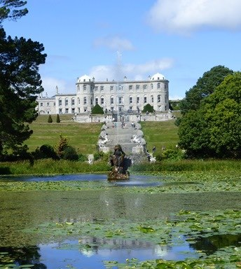View over pond of Powerscourt House and Gardens, Co Wicklow.