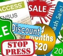 Composite of images announcing discounts, money off savings and sales.