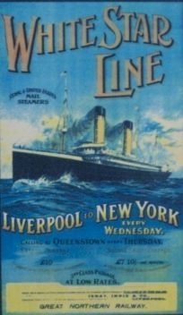 Historical poster advertising the White Star Line's ships departing on Wednesdays from Liverpool for New York.